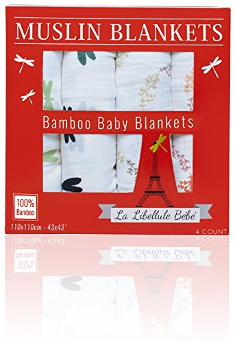 4-COUNT-Bamboo-Muslin-Receiving-Swaddle-Baby-Blankets-Luxuriously-Soft