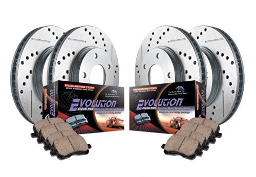 Power Stop K755 Front/Rear Ceramic Brake Pad and Cross Drilled/Slotted Combo Rotor One-Click Brake Kit