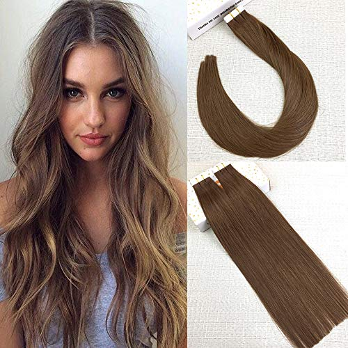Reysaina 24inch 50 Gram Tape in Human Hair Extensions Light Brown Color #8 Tape on Hair Extensions Skin Weft Real Human Hair Glue in Hair Extensions