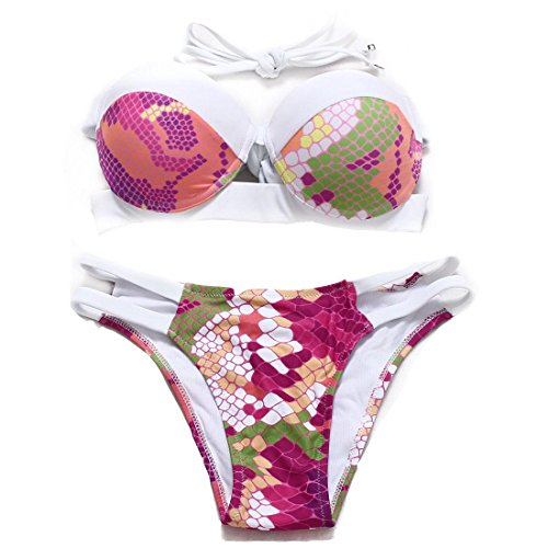Erica Bikinis de playa Bandeau bikinis de dos piezas conjunto de traje de baño de impresión floral Solid Color Push Up Underwire acolchado Bra printing