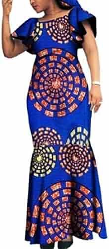 39acee31644 Winwinus Women Party Plus Size African Print Dashiki Batik Slim Maxi Dress