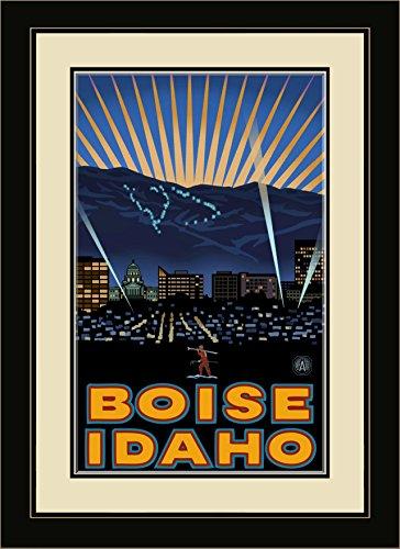 Northwest Art Mall PAL-1332 MFGDM Boise Idaho Skyline Framed Wall Art by Artist Paul A. Lanquist, 13 by - Boise Mall Idaho