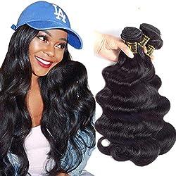 "QTHAIR 10A Brazilian Virgin Hair Body Wave Human Hair (8"" 10"" 12"",300g/10.5OZ,Natural Black) 100% Unprocessed Body Wave Brazilian Virgin Human Hair Weave Brazilian Body Wave Human Hair Weaving"