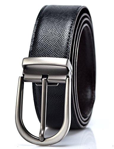 YoMeiJun Men's Leather Belt Reversible Italian Leather Adjustable 35mm Width Diamond (Italian Genuine Belt)