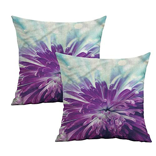Khaki home Dahlia Square Throw Pillow Covers Blooming Floral Motifs Square Throw Pillow Covers Cushion Cases Pillowcases for Sofa Bedroom Car W 16