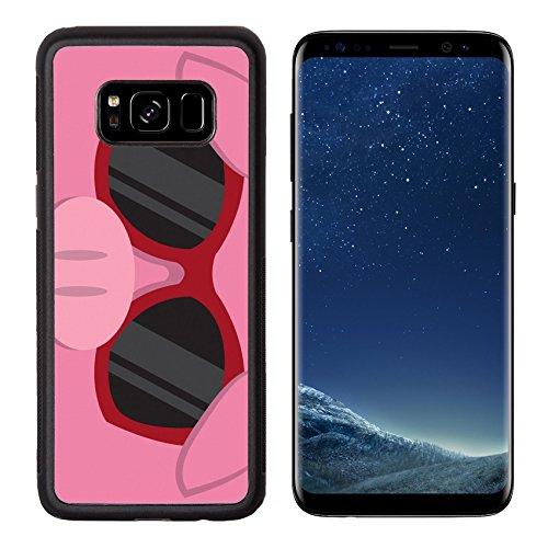 Liili Premium Samsung Galaxy S8 Aluminum Backplate Bumper Snap Case IMAGE ID: 18010975 Cartoon pig head with - Sunglasses With Character Cartoon