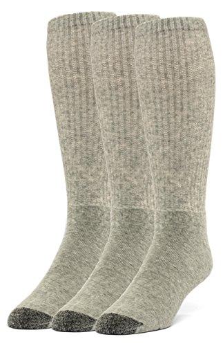 Galiva Men's Cotton Extra Soft Over the Calf Cushion Socks - 3 Pairs, Small, Grey