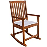vidaXL Outdoor Acacia Wood Rocking Chair Patio Deck Rocker w/Cushion Garden Furniture