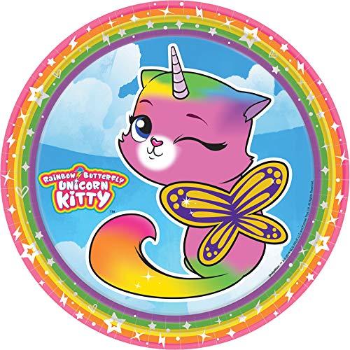 amscan Rainbow Butterfly Unicorn Kitty Dinner Plates