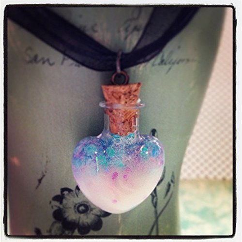 Pastel Goth Glow In The Dark Glass Heart Charm with Black Ribbon and Cord Necklace
