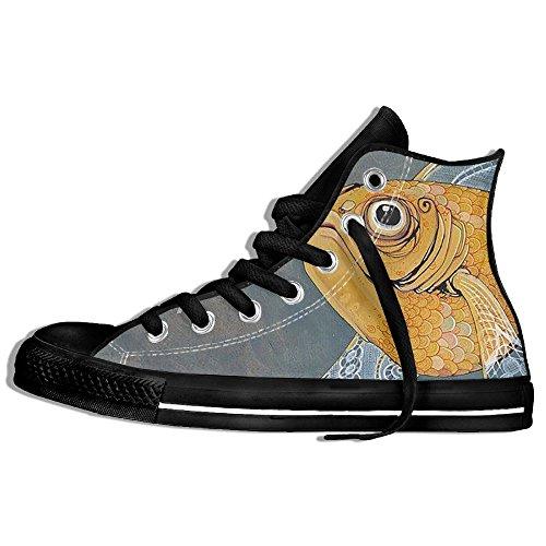 Classiche Sneakers Alte Scarpe Di Tela Antiscivolo Graziose Fish Casual Da Passeggio Per Uomo Donna Nero