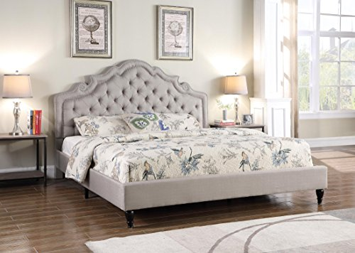 Queen Bed Frame Headboard Footboard - LIFE Home Platform Bed, Queen, Light Grey