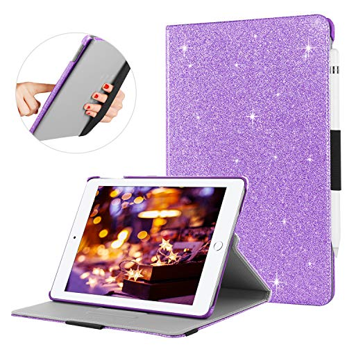 BENTOBEN Case for iPad 2017/2018 9.7 inch, Glitter Sparkle Multiple Degree Stand Smart Cover Stylus Holder Auto Wake/Sleep Luxury Faux Leather Protective Case for iPad 9.7 6th/5th Generation, Purple