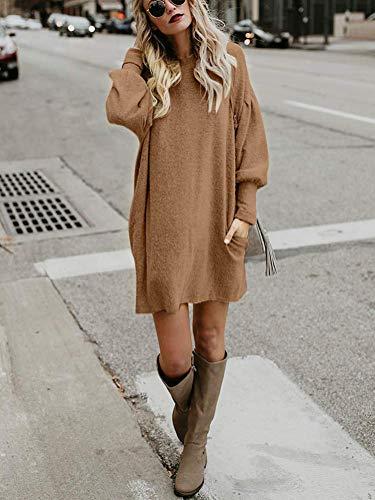 Longue En Femme Mini Dress Manche Vrac Hiver Robe Tunique Pull Tricot Kaki Rond Chandail Elégant Solide Sweater Mode Col Minetom Toison mwnON8v0