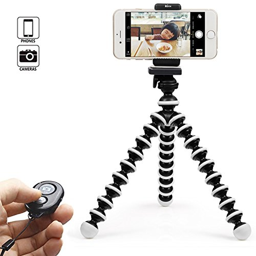 KEKH Phone Tripod, Portable and Adjustable Tripod Stand Holder with Bluetooth Remote for iPhone, Android Phone,Camera with Universal Clip and Remote (Black & White) by KEKH