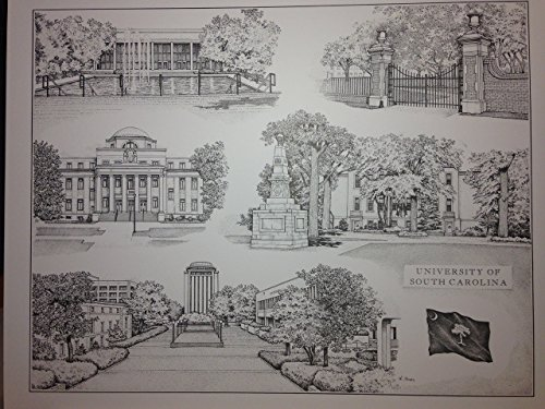University of South Carolina 16x20 pen and ink collage print by Campus Scenes