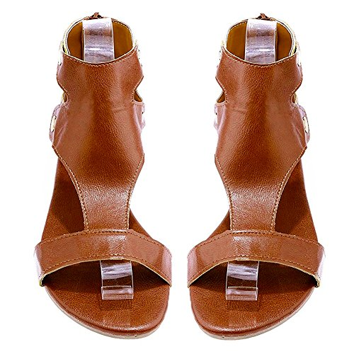 Freashine Brown Slipper Sandals Flat Beach Women's Casual Summer Open Toe pWpza1qF