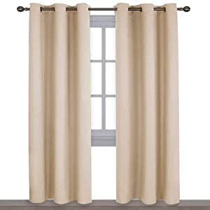 NICETOWN Thermal Insulated Eyelet Top Room Darkening Panels/Curtains/Drapes for Bedroom (2 Panels, W42 x L84 -Inch, Biscotti Beige)