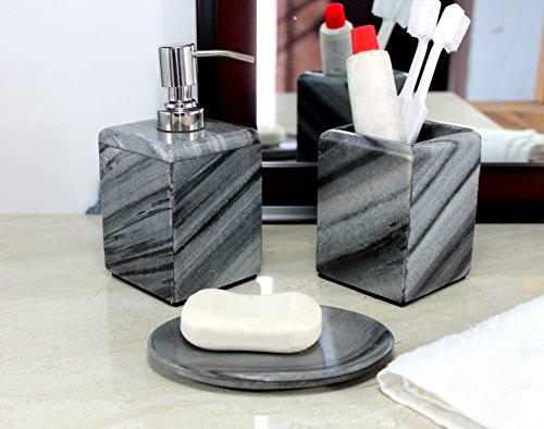 KLEO  Bathroom Accessory Set made from Natural Grey Stone  Bath Accessories set of 3 includes Soap Dispenser Tumbler and Soap Dish Grey