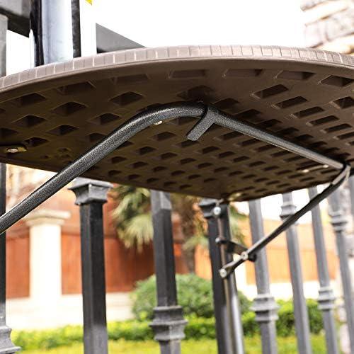 SONGMICS Mesa de Balcón Colgante, con Barandilla Extraíble, Mesa ...