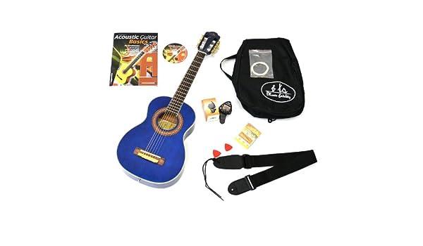Acústica 1/4 Guitarra de concierto infantil en azul con Rose Mango ...