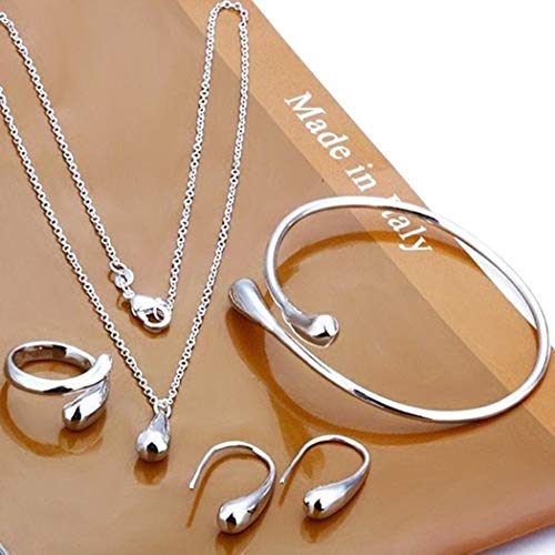 IEnkidu 925 Sterling Silver Necklace Earring Ring Bangle Set for 4 Pcs (Silver)