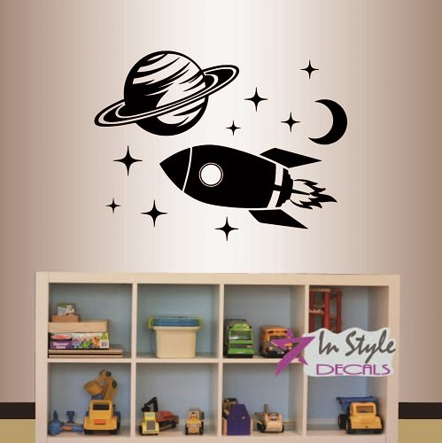 Wall Art Rocket (Wall Vinyl Decal Home Decor Art Sticker Nursery Boy Kids Rocket and Planet Space Ship Room Removable Stylish Mural Unique Design)