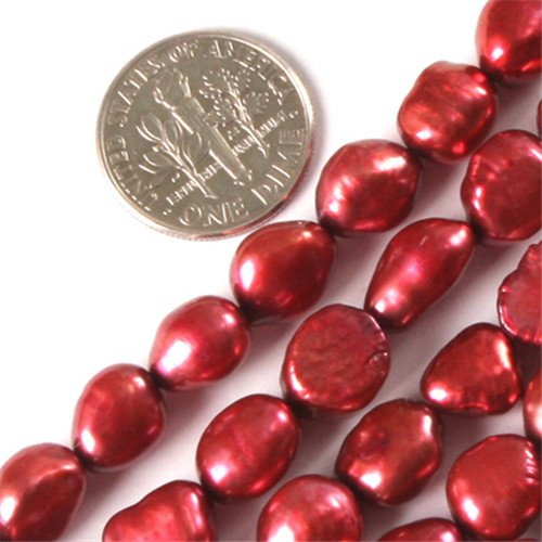 Gem-Inside 8-9X10-11mm Freeform Olivary Dark Red Color Cultured Pearl Dyed Beads Strand 15 Inches