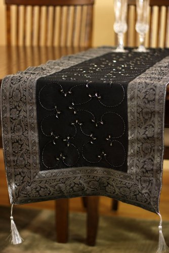 (Banarsi Designs Hand Embroidered Table Runner (Mystic Black, 120