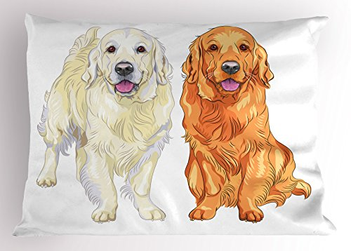 Ambesonne Golden Retriever Pillow Sham, Smiling Pale and Red Dog Pure Breed Sitting Staying Thoroughbred, Decorative Standard Size Printed Pillowcase, 26