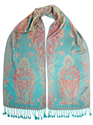 Bohomonde, Ramaya Scarf, Reversible Pashmina Indian Paisley Traditional Jacquard Scarf (Reversible Silk Scarf)