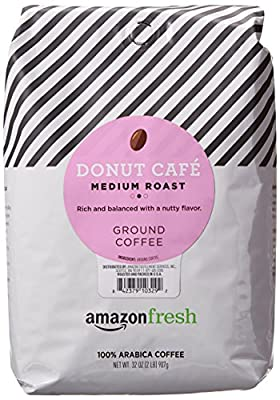 AmazonFresh Donut Cafe Ground Coffee, Medium Roast, 32 Ounce
