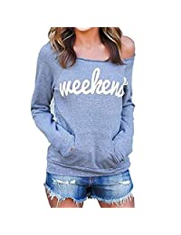 Baby Room Women Casual Off Shoulder Weekend Letters Print Sweatshirt
