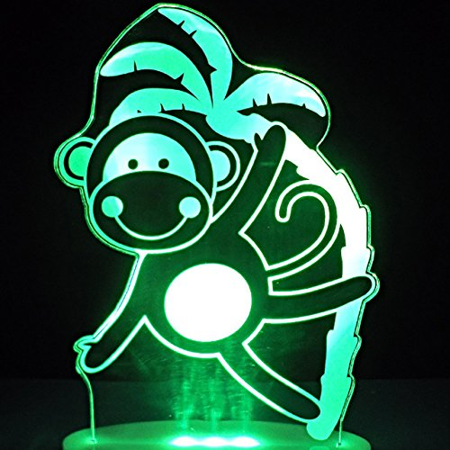 Tissen 3D Animal Monkey Night Light 7 Colors Mood Light Touch Switch USB Table Desk LED Light Christmas Present Kids Home Party Birthday Christmas Gift