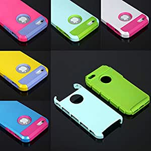 """TopOne Colorful Heavy Duty Back Case Cover Hard Hybrid Rugged Silicone for iPhone 4 5 6 Navy&Green For iPhone 6 4.7"""""""