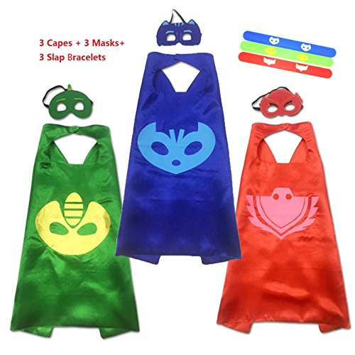 [SamTaik Superhero Cape Costumes Fancy Dress Up For Kids 3 Capes And Masks Costume Kit (Capes+Masks+] (Super Easy Character Costumes)