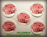 """24 Small 1.5"""" Decorative Wafer Paper Toppers © HALLOWEEN SCARY GROSS ZOMBIE BRAINS REAL HUMAN PRECUT EDIBLE CAKE TOPPERS"""