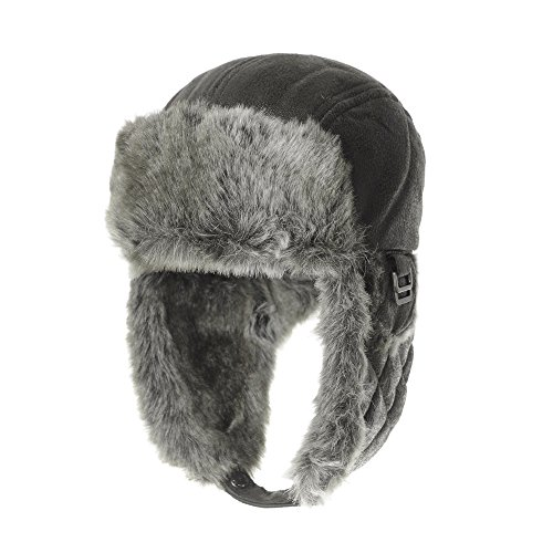 WITHMOONS Leather Bike Trooper Ear Flap Cap Trapper Hat Faux Fur CR7542 (Grey) (Lined Aviator)