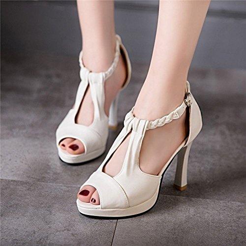 MissSaSa Femmes Sandales Bouche de Poisson Talons Hauts Blanc KzWoOO4r4M