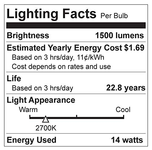 Great Eagle 100W Equivalent LED Light Bulb 1500 Lumens A19 Warm White 2700K Dimmable 14-Watt UL Listed (6-Pack)