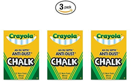 Crayola Nontoxic Anti-Dust Chalk, White, 12 Sticks/Box (50-1402) (3 Pack)