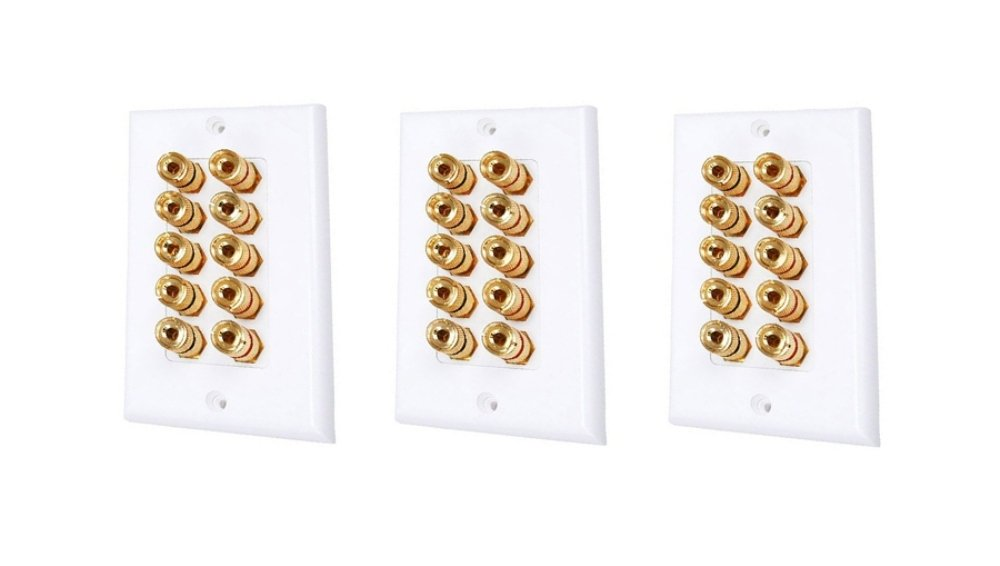 C&E High Quality Banana Binding Post Two Piece Inset Wall Plate for 5 Speakers, CNE585321 C&E (CEAA6)
