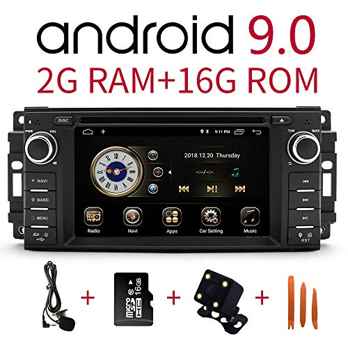 Car Stereo Radio in Dash Navigation for Dodge Ram Challenger Chrysler Jeep Wrangler,6.2 inch Touchscreen Android 9.0 Single Din DVD Player Bluetooth with Rear View Camera,16GB SD Card,3.5mm Mic (Ram Dodge Dvd)