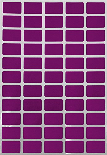 Purple Removable Rectangular color labels 25.5mm x 16mm- color coding stickers- clean remove on any surface (1inch x .625 inch) 275 pack by Royal Green (Removable Labels Rectangle)