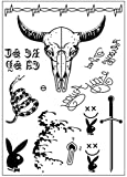 #5: DaLin Post Malone Inspired Face Temporary Tattoos Sheet for Halloween Costume Accessories and Parties