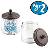 glass jars for qtips - mDesign Bathroom Vanity Glass Storage Organizer Canister Jars for Q tips, Cotton Swabs, Cotton Rounds, Cotton Balls, Makeup Sponges, Bath Salts - Pack of 2, Clear/Bronze