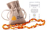 Real Baltic Amber Teething Necklace | Natural Tooth & Gum Anti-Inflammatory Jewelry for Babies and...