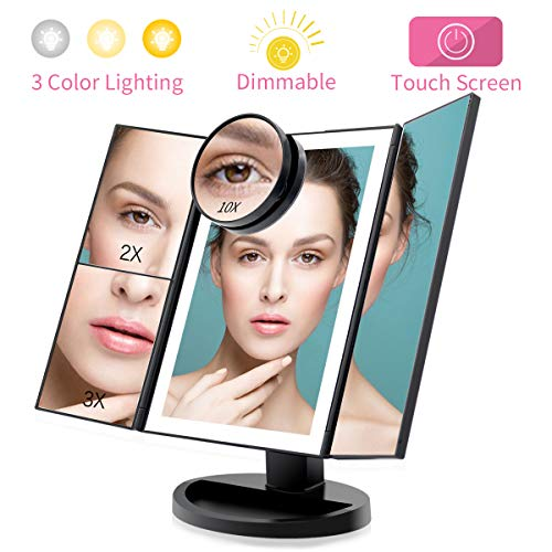 FASCINATE Trifold Lighted Makeup Mirror 3 Color Lights,