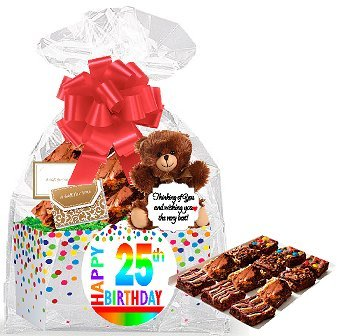 25th Birthday / Anniversary Gourmet Food Gift Basket Chocolate Brownie Variety Gift Pack Box (Individually Wrapped) 12pack