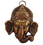 RCI Handicraft Metal Gold Plated Trunk Ganesh Head Main Door Hangings for Home Decor and Gift Purpose(Gold)